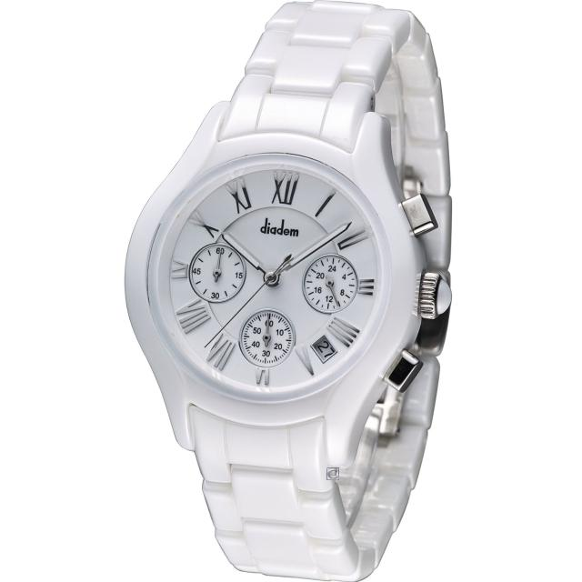 【Diadem】黛亞登 優雅名媛陶瓷計時腕錶(2D1407-521S-W)