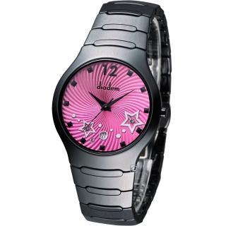Diadem 黛亞登 魔幻星空黑陶瓷時尚腕錶 - 桃紅/36mm (9D1407-541DD-R)