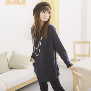 ~衣心衣意~ 裝扮~翻領抓摺口袋寬版洋裝 藍~紫FA2A3073