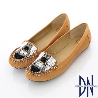 【DN】經典莫卡辛 串珠手工縫線平底包鞋(駝)
