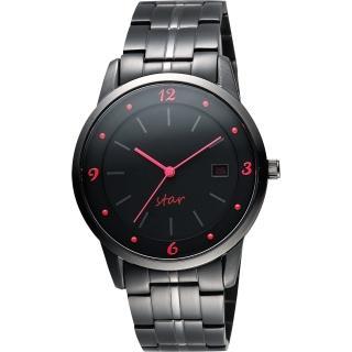 【STAR】藝術時尚簡約風情腕錶-黑x紅時標/40mm(9T1407-231D-R)