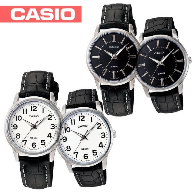 【CASIO 卡西歐】送禮首選-4cm大鏡面 浪漫情侶對錶(MTP-1303L+LTP-1303L)