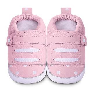 【英國 shooshoos】安全無毒健康真皮手工學步鞋/嬰兒鞋 淡粉點點運動款(適合爬行、搖晃學習走路寶寶穿)