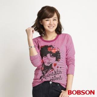 【BOBSON】女款條紋女郎印圖長袖上衣(桃紅31072-15)