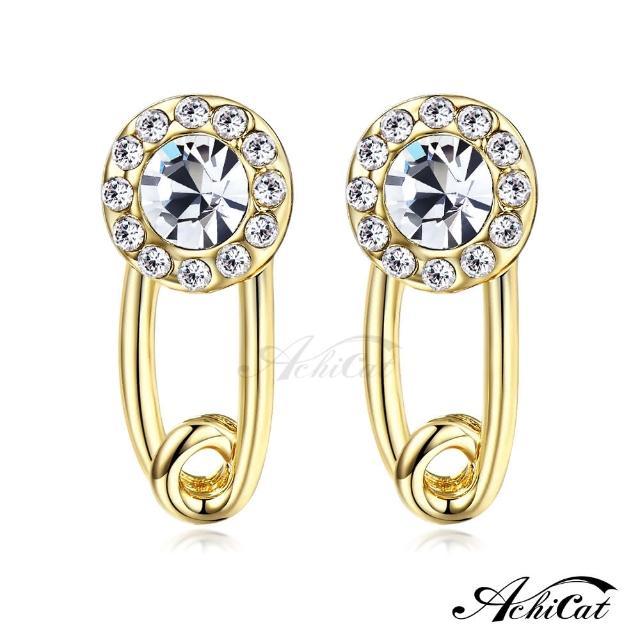 【STEVEN YANG】正白K飾「唯美焦點」耳針式耳環 KG4085(金色白水晶)