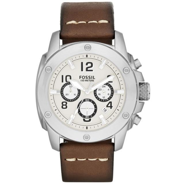 【FOSSIL】爭鋒時刻計時腕錶-銀框白x咖啡帶(FS4929)