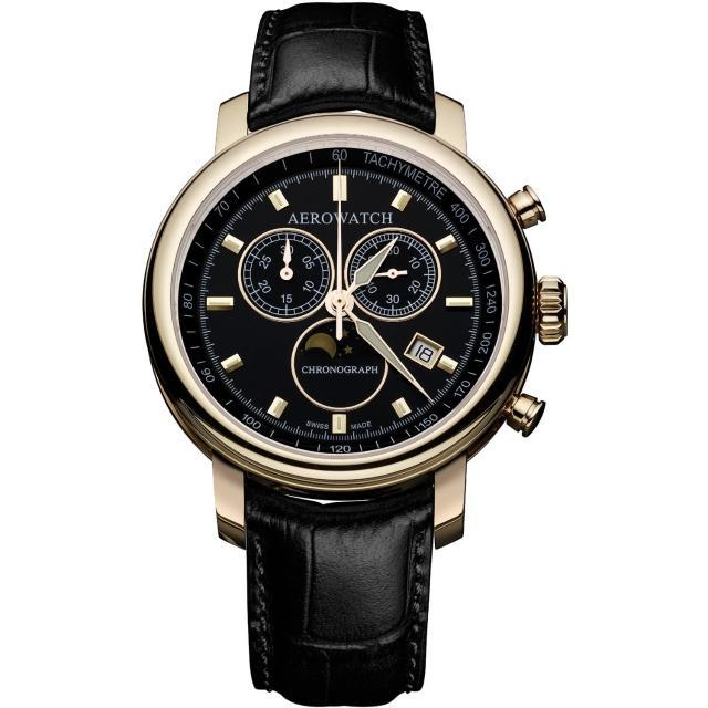 【AEROWATCH】Rhein 經典三眼計時腕錶-黑x金框/42mm(A84936RO01)