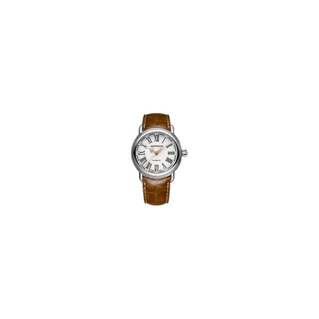 【AEROWATCH】古典鏤空指針腕錶-銀x咖啡/40mm(A24924AA13)