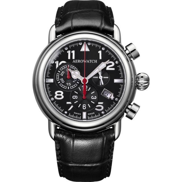 【AEROWATCH】都會仕紳三眼計時腕錶-黑/44mm(A83939AA05)