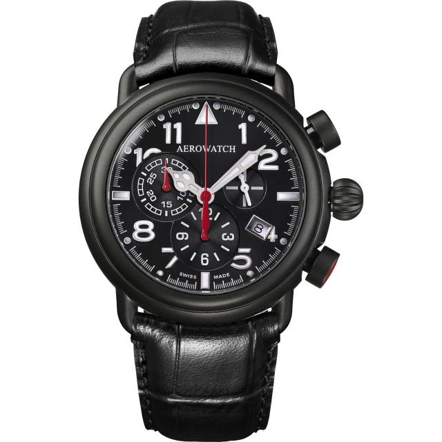 【AEROWATCH】都會仕紳三眼計時腕錶-黑x黑框/44mm(A83939NO05)