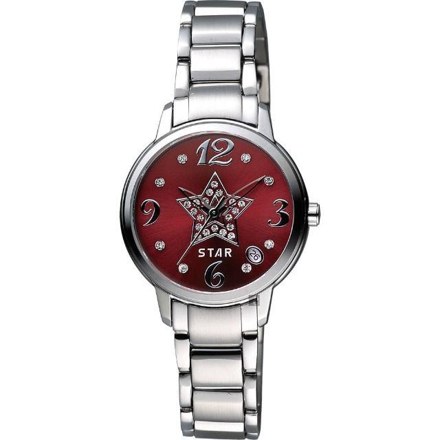 【STAR】閃亮之星晶鑽甜蜜女錶-紅x銀/30mm(7T1407-141S-R)