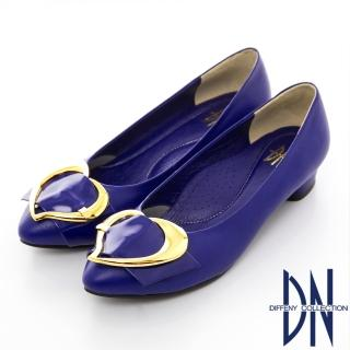【DN】巴黎時尚 全真皮尖頭拼接金屬飾扣跟鞋(藍)