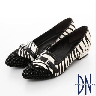 【DN】韓系時尚 水鑽拼接動物紋尖頭樂福鞋(黑)