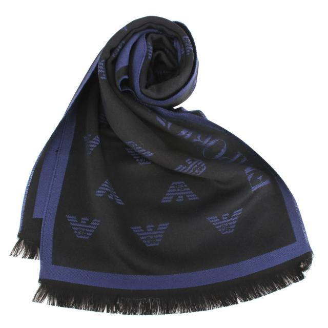 【EMPORIO ARMANI】經典老鷹LOGO雙面流蘇圍巾(深藍/黑色)