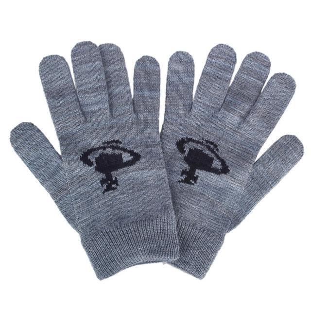 【Vivienne Westwood】經典星球圖案混羊毛手套(藍灰色)