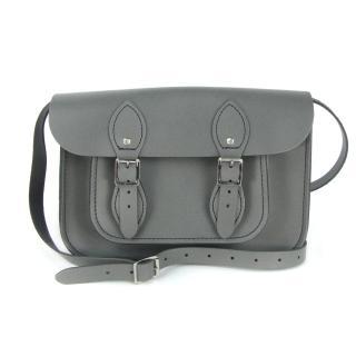 【The Leather Satchel Co.】11吋 英國手工牛皮劍橋包 肩背 側背手拿包(紳士灰)