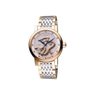 【Ogival】愛其華 遊龍戲珠限量紀念真鑽機械腕錶-珍珠貝/半金/40mm(388.67AGSR)