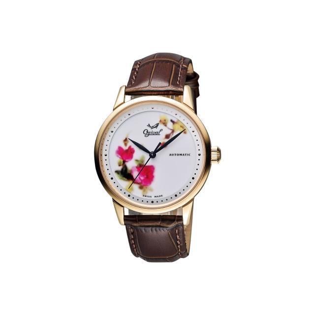 【Ogival】愛其華 花繪經典彩繪機械腕錶-玫塊金框/40mm(1929-24.8AGR皮)
