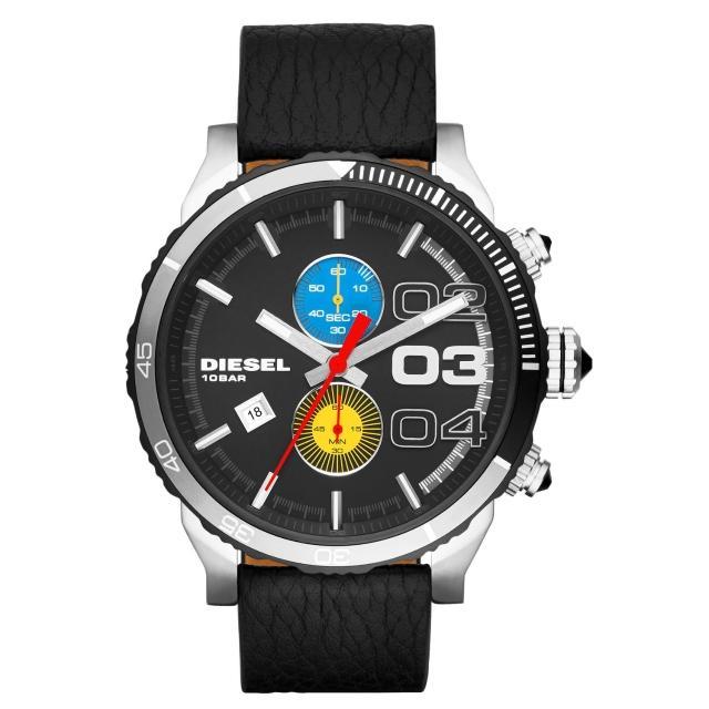 【DIESEL】強勢回歸計時皮帶腕錶-黑x藍黃雙眼(DZ4331)