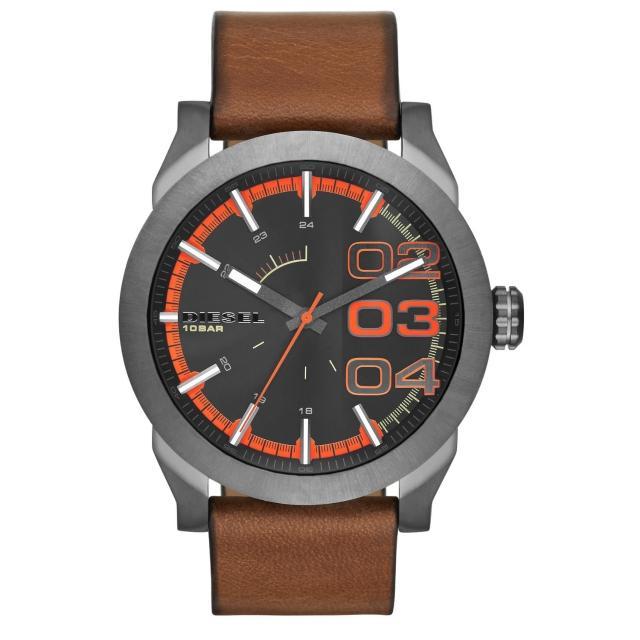 【DIESEL】盛夏狂熱時尚潮流腕錶-黑橘x褐帶(DZ1680)