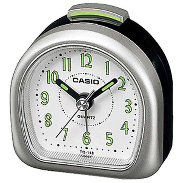 【CASIO 卡西歐】指針型電子音鬧鈴鬧鐘(銀-TQ-148-8DF)