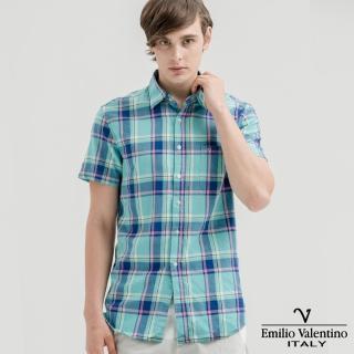 【Emilio Valentino 范倫提諾】水洗格紋襯衫(水藍)