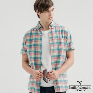 【Emilio Valentino 范倫提諾】水洗格紋襯衫(粉紅)
