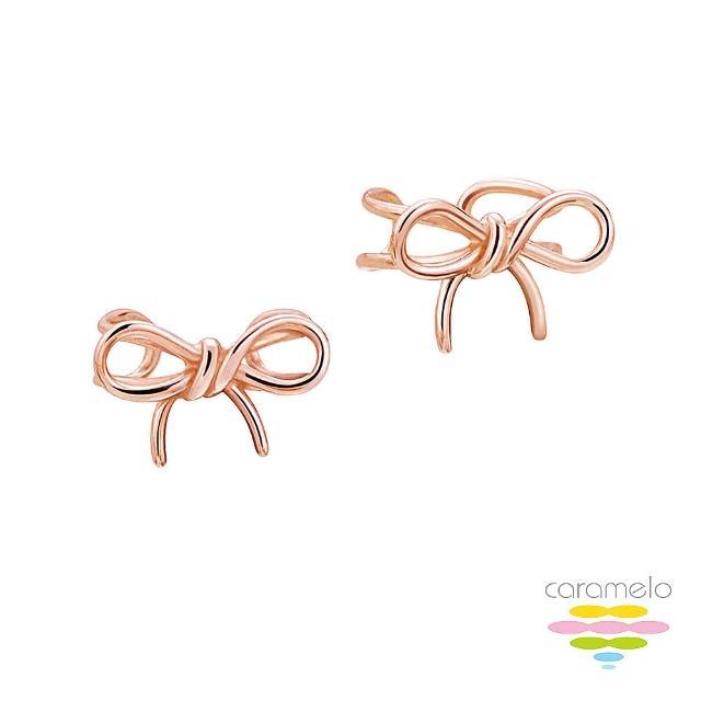 【彩糖鑽工坊】925純銀鍍玫瑰金 蝴蝶結耳環(桃樂絲 Doris系列)