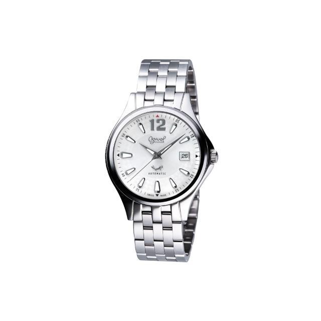 【Ogival】經典時刻自動上鍊機械腕錶-銀/40mm(829-24AGS)