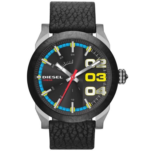 【DIESEL】盛夏狂熱時尚潮流腕錶-彩盤x黑帶(DZ1677)