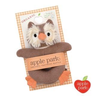 【美國 Apple Park】有機棉手搖鈴啃咬玩具 - 貓頭鷹