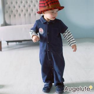 【baby童衣】連身衣 假兩件仿牛仔全開扣兩用爬服 47121(深藍)