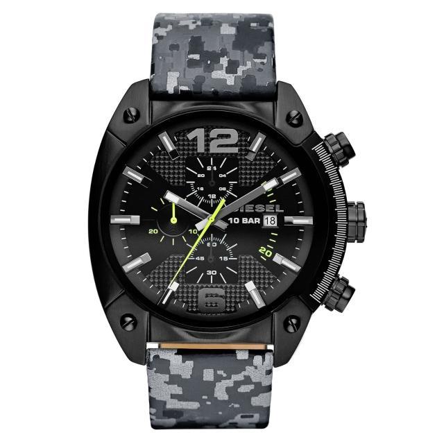 【DIESEL】機械型男個性三環時尚腕錶-黑x反光迷彩(DZ4324)
