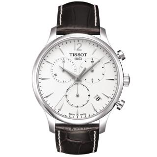 【TISSOT 天梭】TRADITION 系列三眼計時腕錶(白-42mm-T0636171603700)