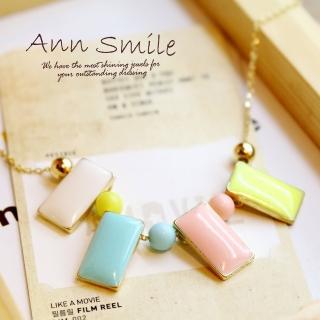 【微笑安安】韓製粉彩浪漫馬卡龍方墜項鍊