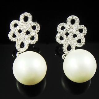 【蕾帝兒珠寶】-雪白白色貝珠耳環
