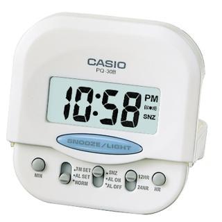 【CASIO 卡西歐】摺疊電子鬧鐘(白-PQ-30B-7)