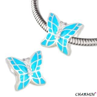 【E&I】CHARMIN 時尚創意手鍊 花蝴蝶 925純銀蝴蝶造型串珠(湖水藍綠)