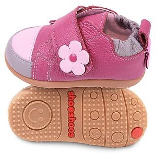 【英國 shooshoos】安全無毒健康真皮手工鞋/小童鞋 桃紅淡粉小花(適合走路平順、跑跳小童)