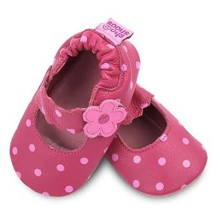 【英國 shooshoos】安全無毒真皮健康手工學步鞋 桃紅小花點點(適合爬行、搖晃學習走路寶寶穿)