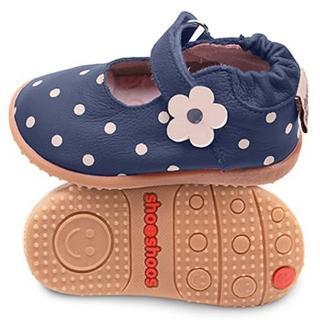 【英國 shooshoos】安全無毒健康真皮手工鞋/小童鞋 海軍藍點點小花(適合走路平順、跑跳小童)