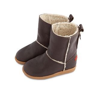 【英國 shooshoos】安全無毒健康真皮小童鞋/靴子 棕色真皮長靴(中統靴/筒長11cm/適合走路平順、跑跳小童)