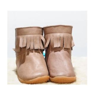 【英國 shooshoos】安全無毒健康真皮手工鞋/小童鞋_大地色流蘇靴(適合走路平順、跑跳小童)