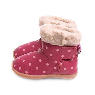 【英國 shooshoos】安全無毒健康真皮手工鞋/小童鞋 桃紅粉點點短靴(適合走路平順、跑跳小童)