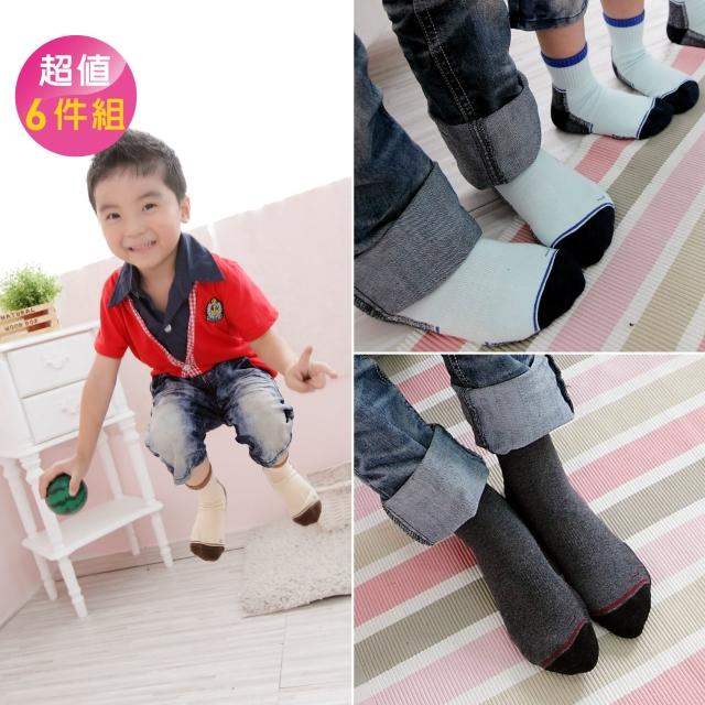 【Footer除臭襪】兒童時尚運動氣墊除臭襪6雙入 童款(F82M五色任選)