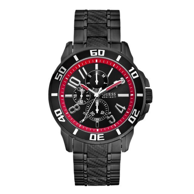 【GUESS】競速奔馳三眼計時腕錶-黑紅/45mm(W18550G1)