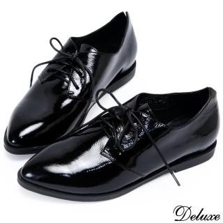 【Deluxe】牛津綁帶黑皮鞋 尖頭復古 黑色