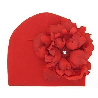 【美國Jamie Rae】女寶寶/女童100%純棉帽 紅色棉帽+經典正紅大牡丹(JRCHP12)