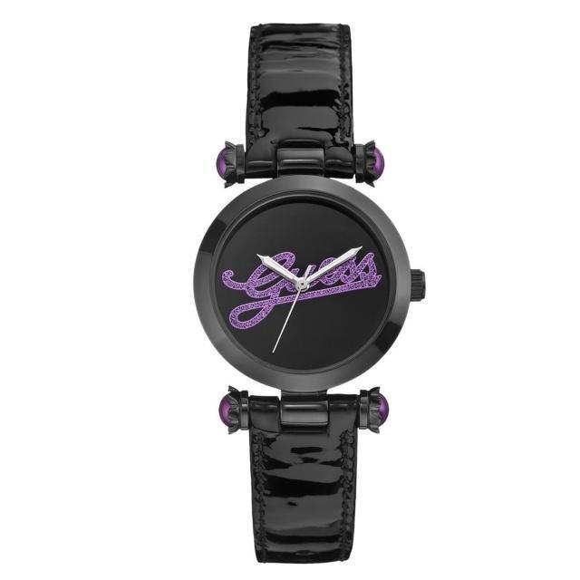 【GUESS】時尚摩登靚麗率性漆皮腕錶-黑紫/33mm(GWW0057L6)