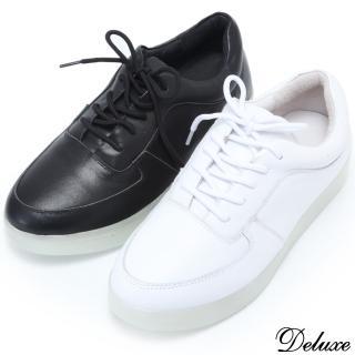 【Deluxe】LED炫光休閒鞋(附USB充電線 黑白二色)